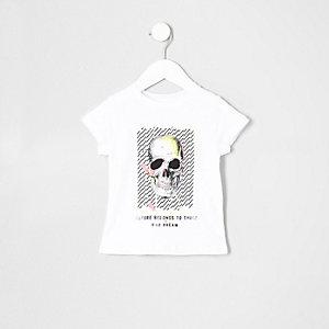 T-shirt blanc imprimé tête de mort fluo mini garçon