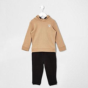 Ensemble pantalon de survêtement et sweat à capuche camel mini garçon
