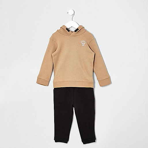 Mini boys camel hoodie and joggers set