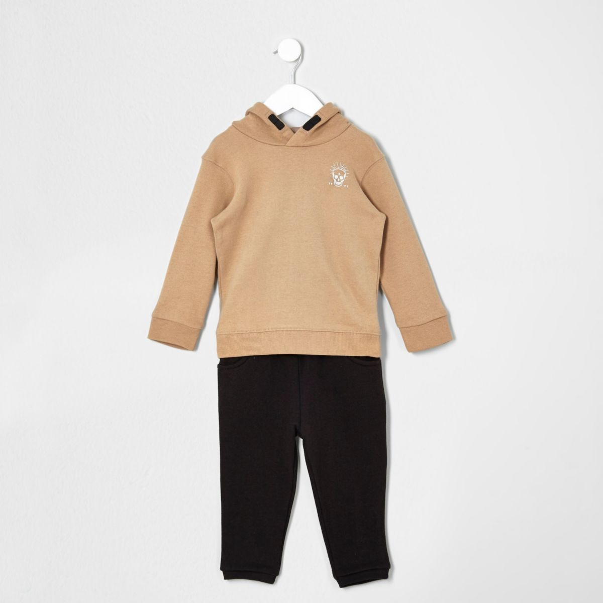 Mini boys camel hoodie and joggers set