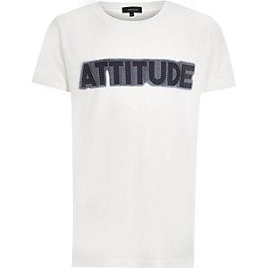 Boys white 'Attitude' print T-shirt