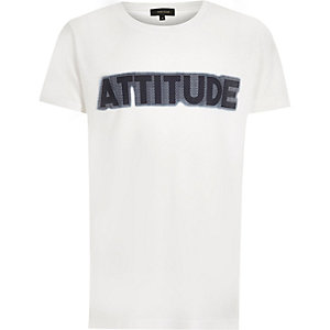 Boys white 'Attitude' print T-shirt