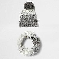 Écharpe-tube et bonnet à pompon en maille torsadée gris dégradé pour garçon