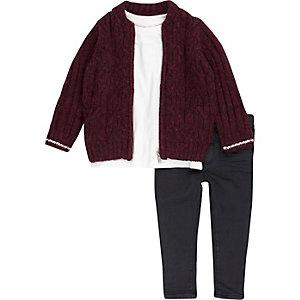 Jean, t-shirt et blouson en maille rouge mini garçon