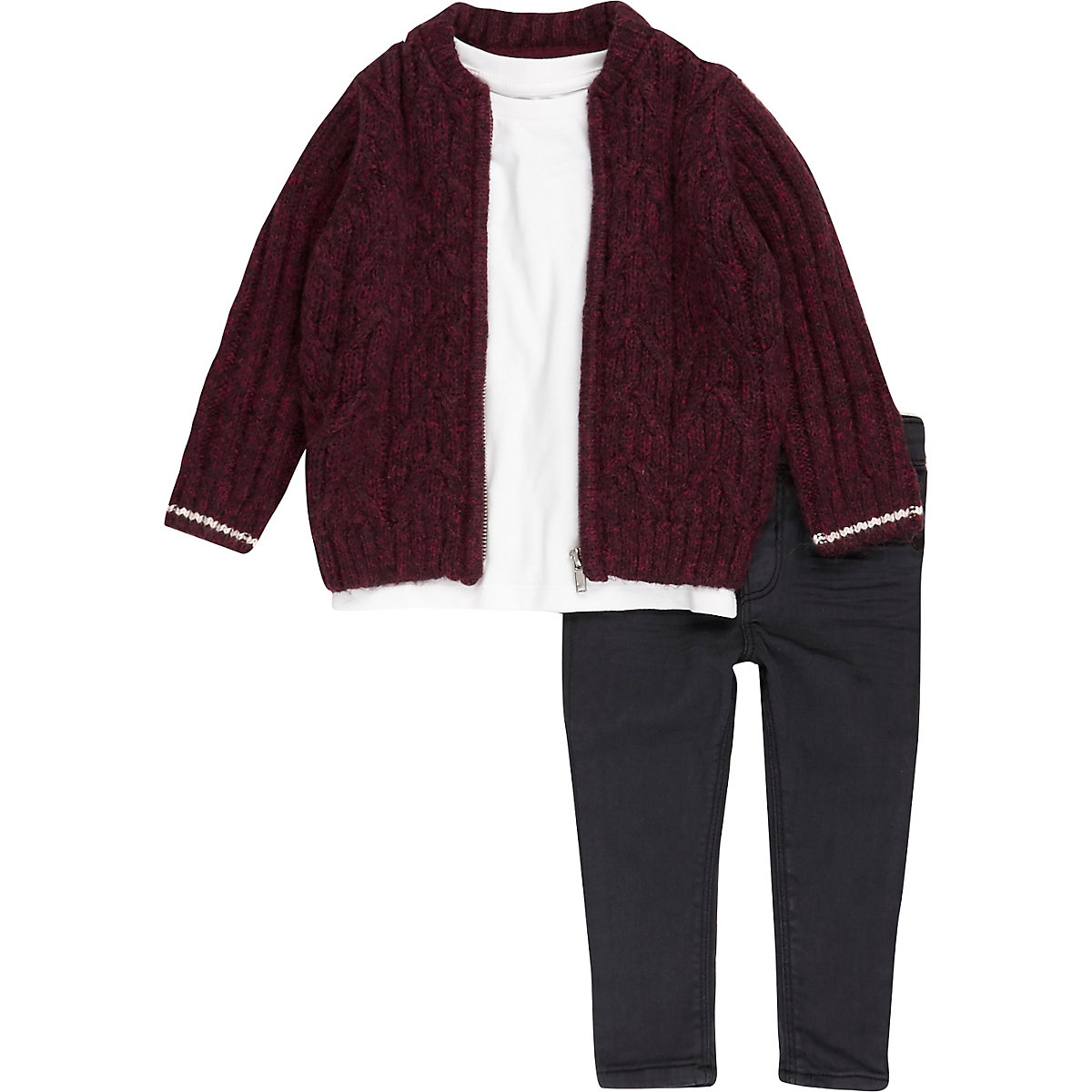 Mini boys red knit bomber, T-shirt and jeans