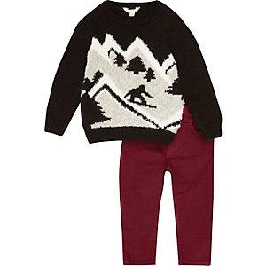Ensemble mini garçon avec pull de Noël noir motif ski