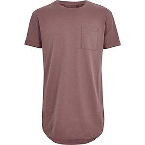 T-shirt rose foncé à ourlet arrondi pour garçon