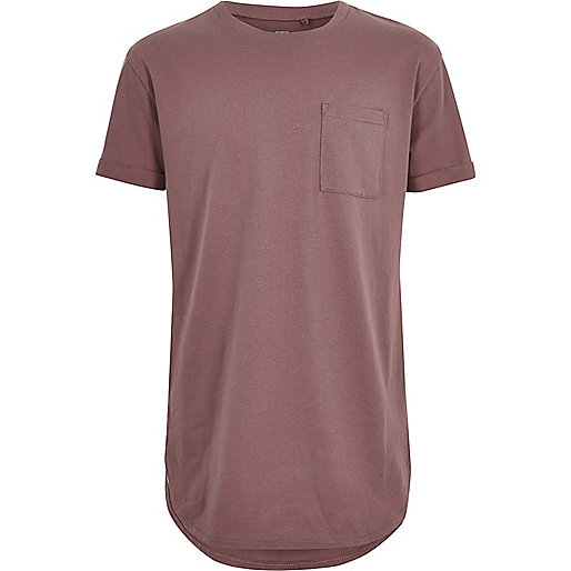 Boys dark pink curved hem T-shirt