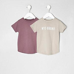 Mini - multipack roze en beige T-shirt voor jongens