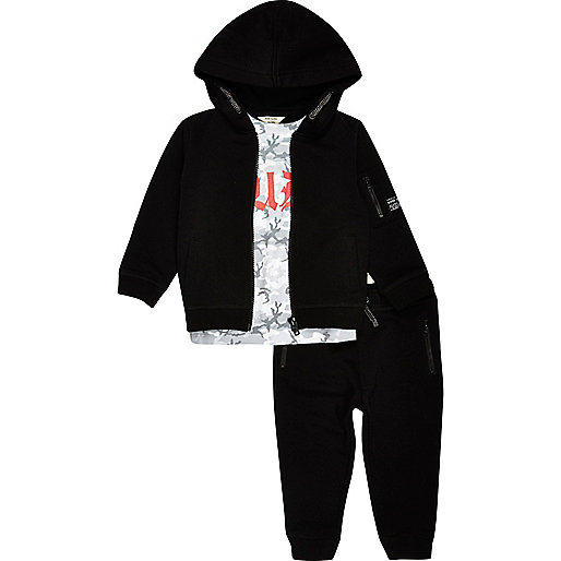 Mini boys black gothic hoodie joggers set