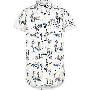Chemise imprimé squelette blanche à manches courtes pour garçon