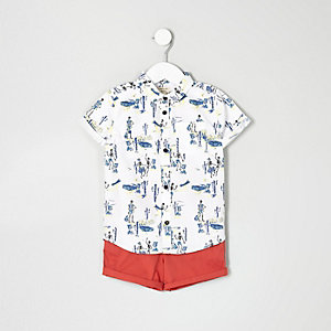Mini boys skeleton shirt and chino shorts set