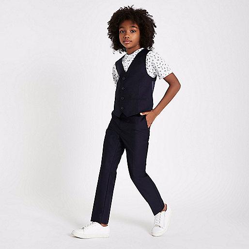 Boys navy suit vest