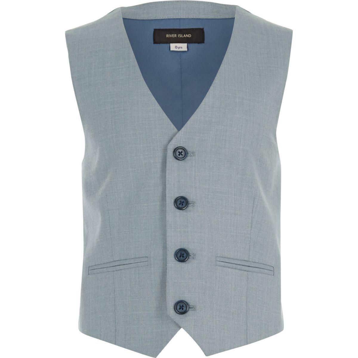 Boys light blue suit waistcoat
