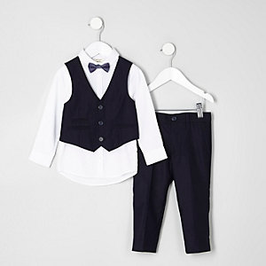 Mini boys navy suit outfit