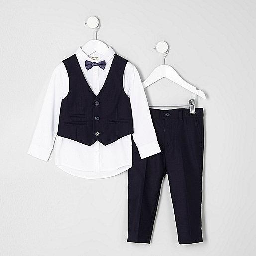 Mini boys navy suit outfit