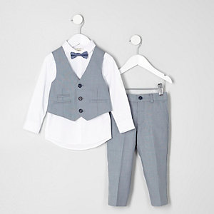 Mini boys light blue suit set