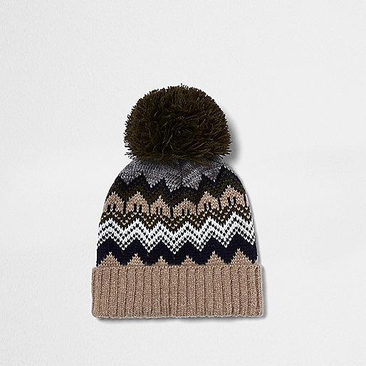 Boys khaki Fair Isle bobble hat