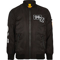 Boys black padded badge bomber jacket