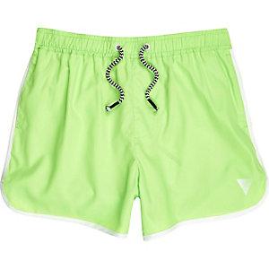 Short de bain vert citron fluo style sport pour garçon