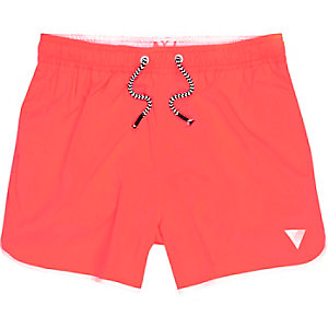 Boys red runner style swim trunks