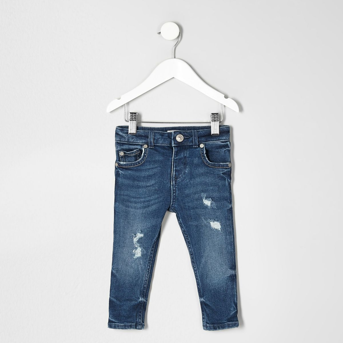 Mini boys blue distressed Sid skinny jeans