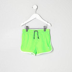 Mini - fluoriserend limoengroene zwemshort voor jongens