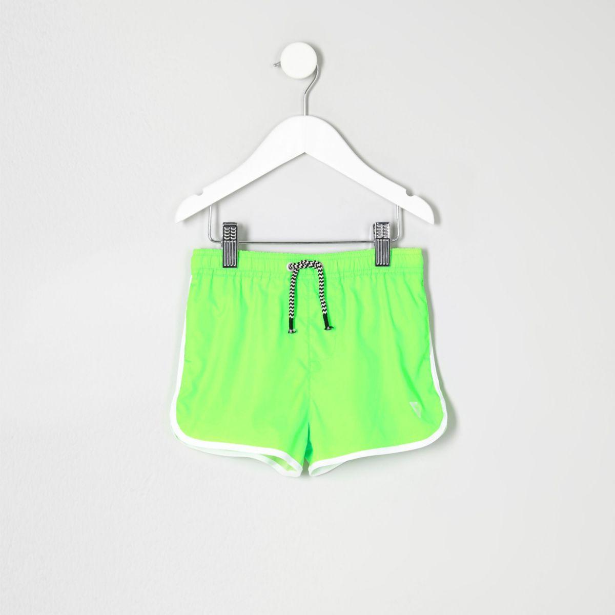 Mini boys fluro lime green runner swim shorts