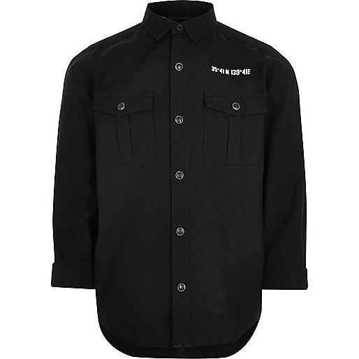 Boys black back print military shirt