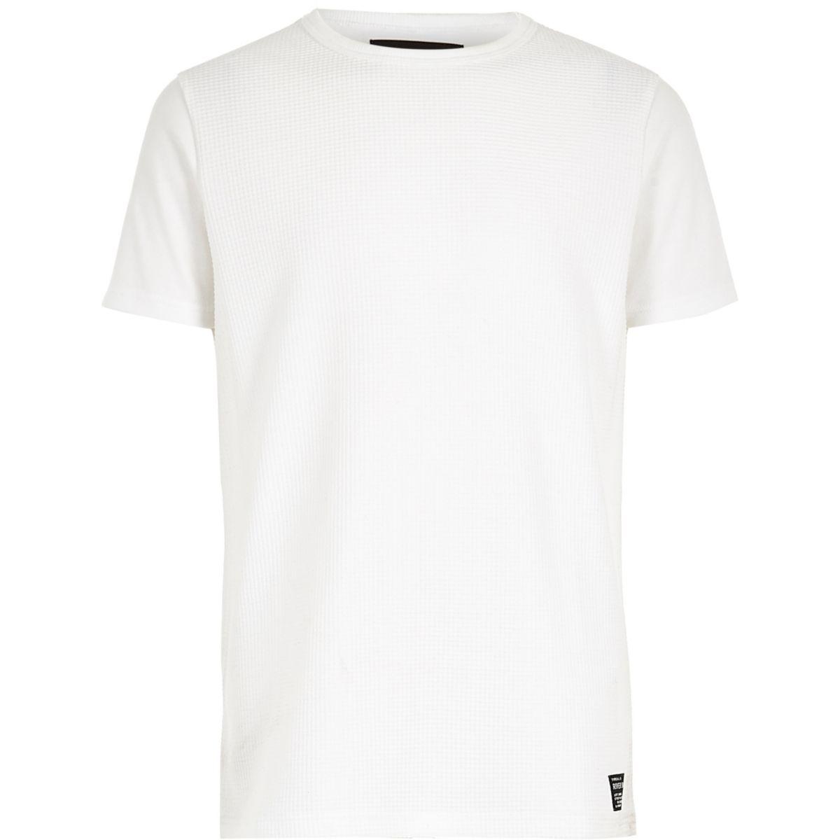 Boys white crew neck waffle T-shirt