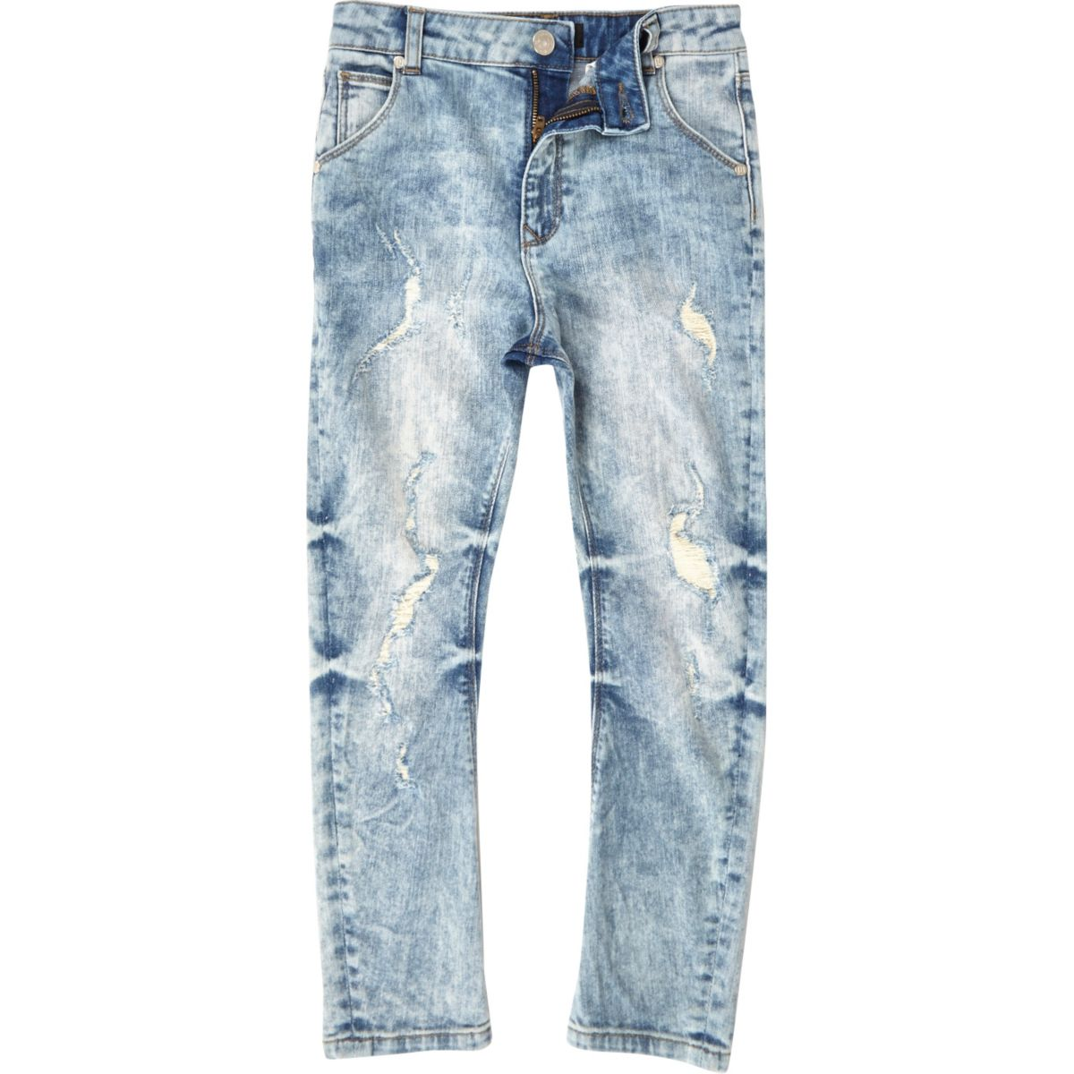Boys light blue slouch Tony ripped jeans