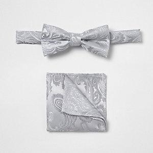 Set met grijze vlinderdas met paisleymotieven voor jongens