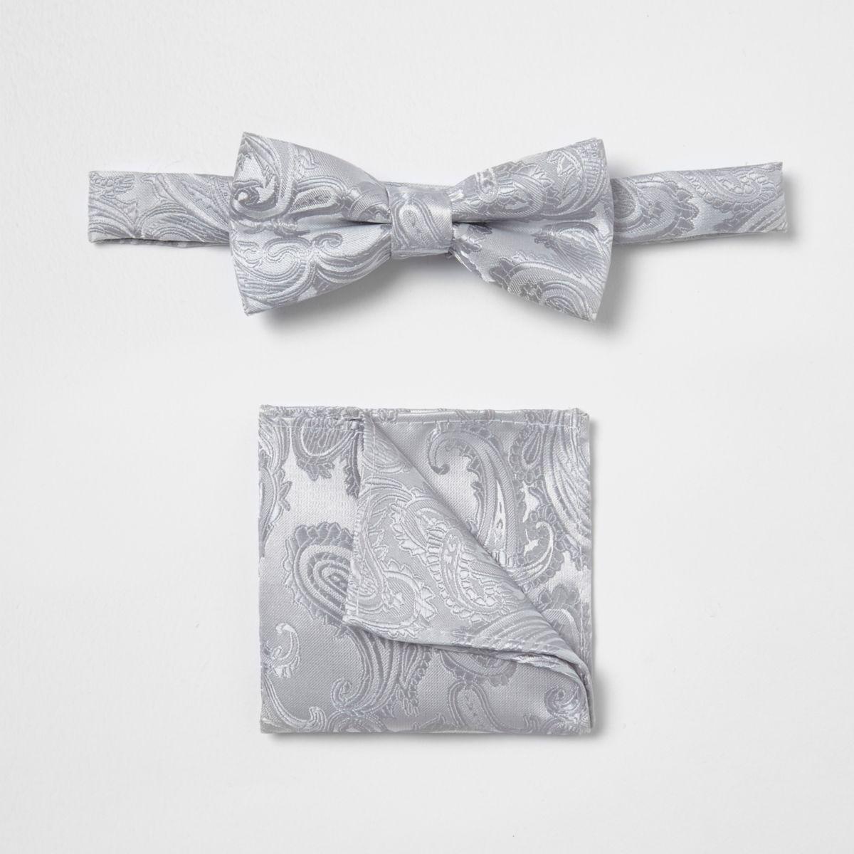 Boys grey paisley bow tie set
