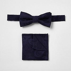 Ensemble nœud papillon motif cachemire bleu marine pour garçon