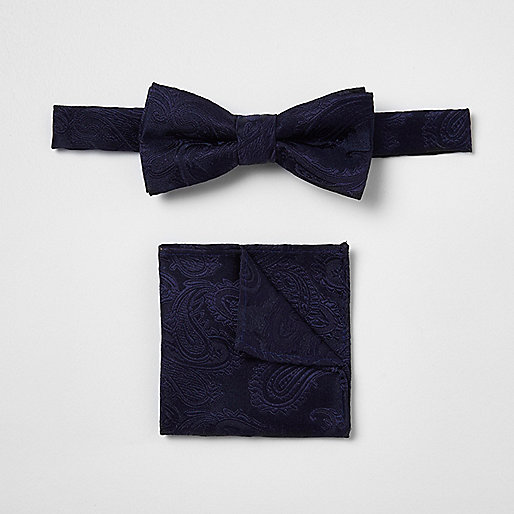 Boys navy paisley bow tie set