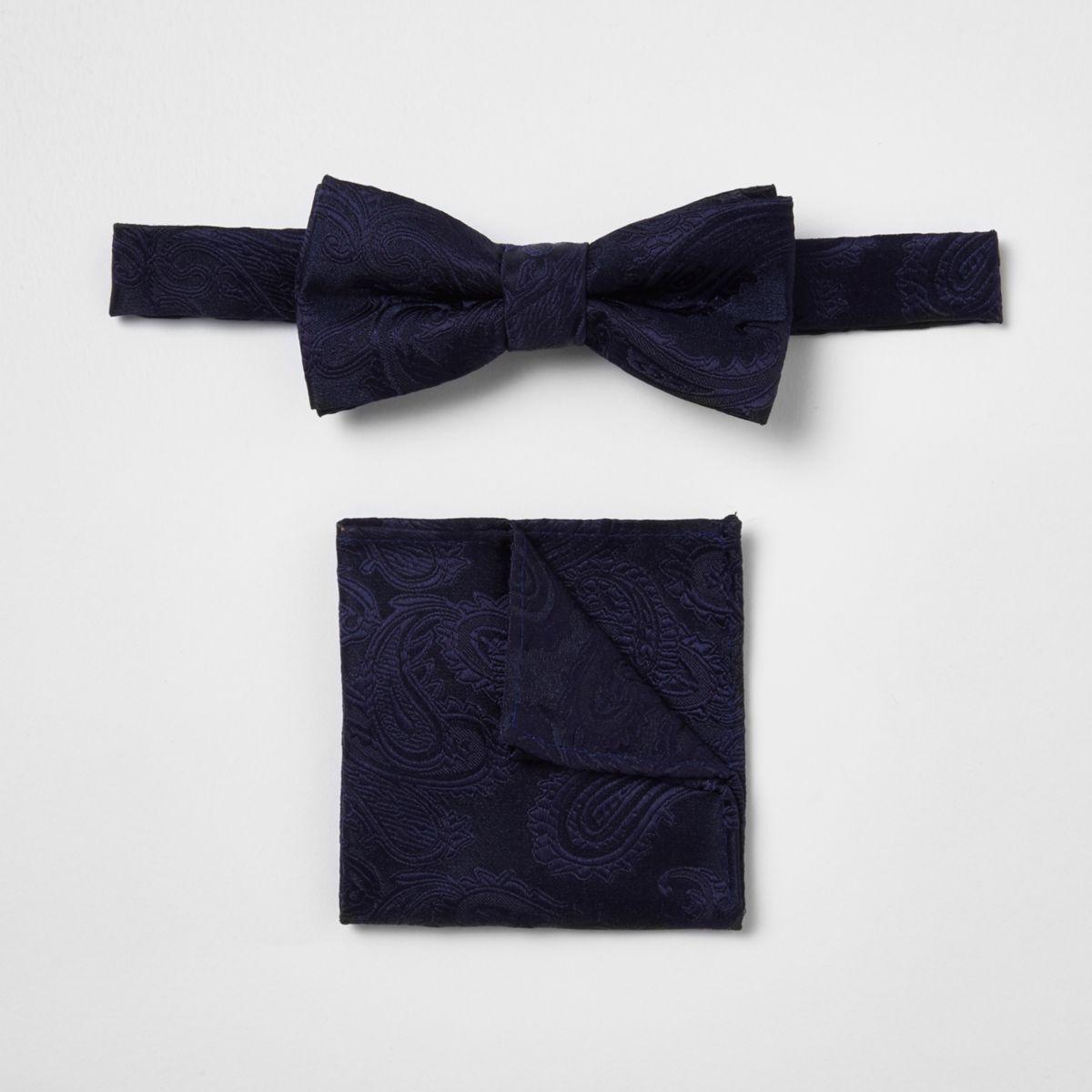 Boys navy paisley bow tie set