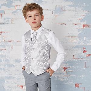 Boys grey paisley waistcoat and shirt set