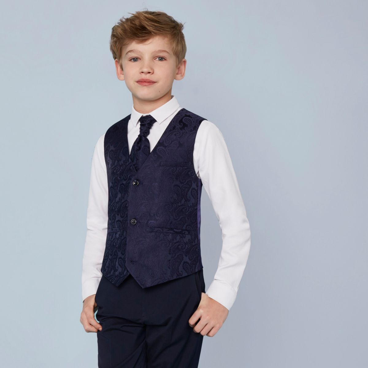 Boys navy paisley vest and shirt set