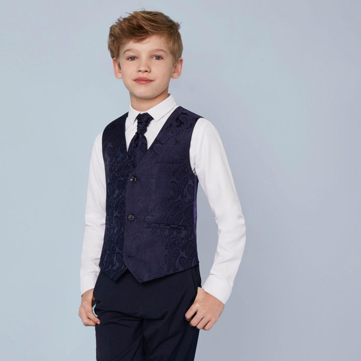 Ensemble chemise et gilet motif cachemire bleu marine pour garçon