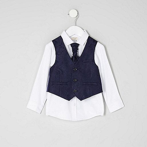 Mini boys navy paisley vest set
