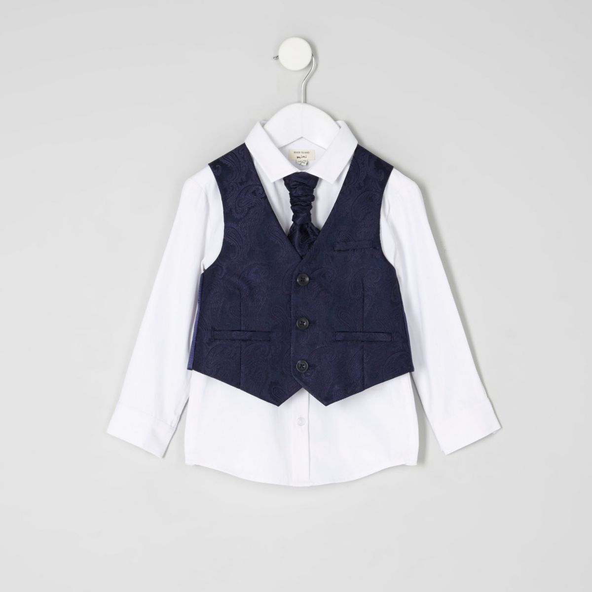 Mini boys navy paisley vest set