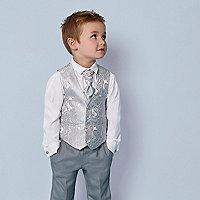 Mini boys grey paisley waistcoat set