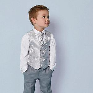 Mini - Set met grijs gilet met paisleymotieven voor jongens