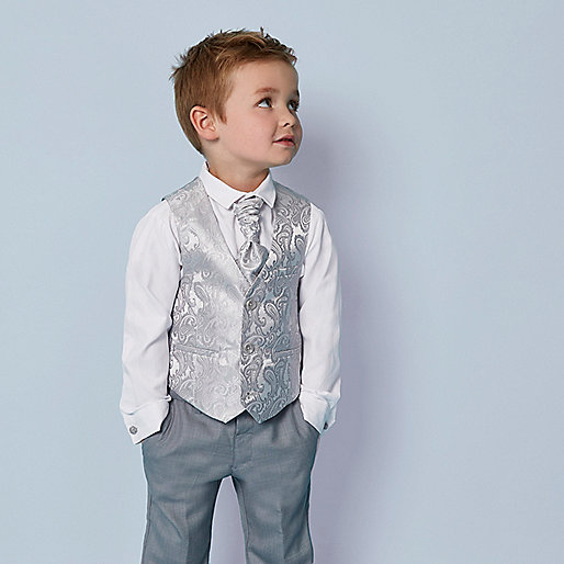 Mini boys grey paisley vest set