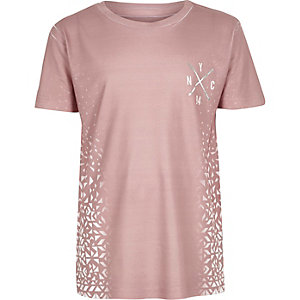 Boys pink faded print T-shirt