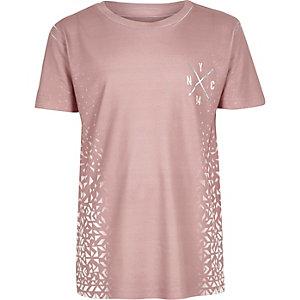 T-shirt rose à imprimé délavé garçon