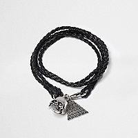 Bracelet multi-tours noir motif tête de mort