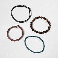 Lot de bracelets marron avec perles pour garçon