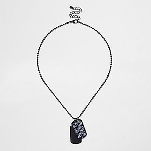 Boys black matt dog tag necklace
