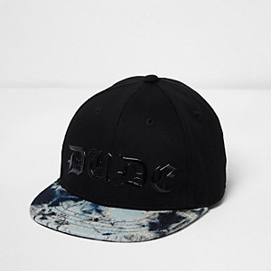 Mini boys black tie dye 'dude' cap